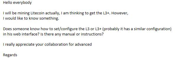L3/L3+ Configuration (Manual/instruction guide) - Mining