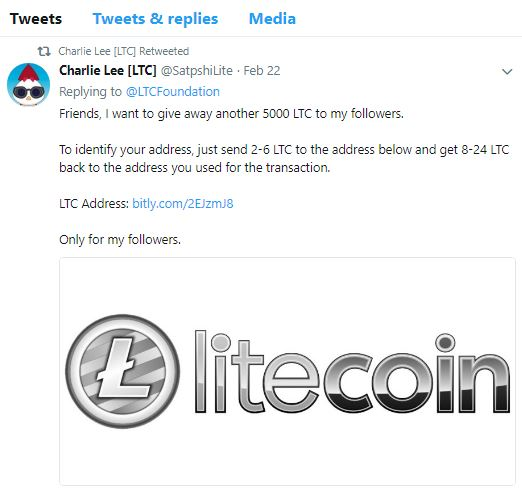 Scammed on Twitter Litecoin giveaway - Technical Support